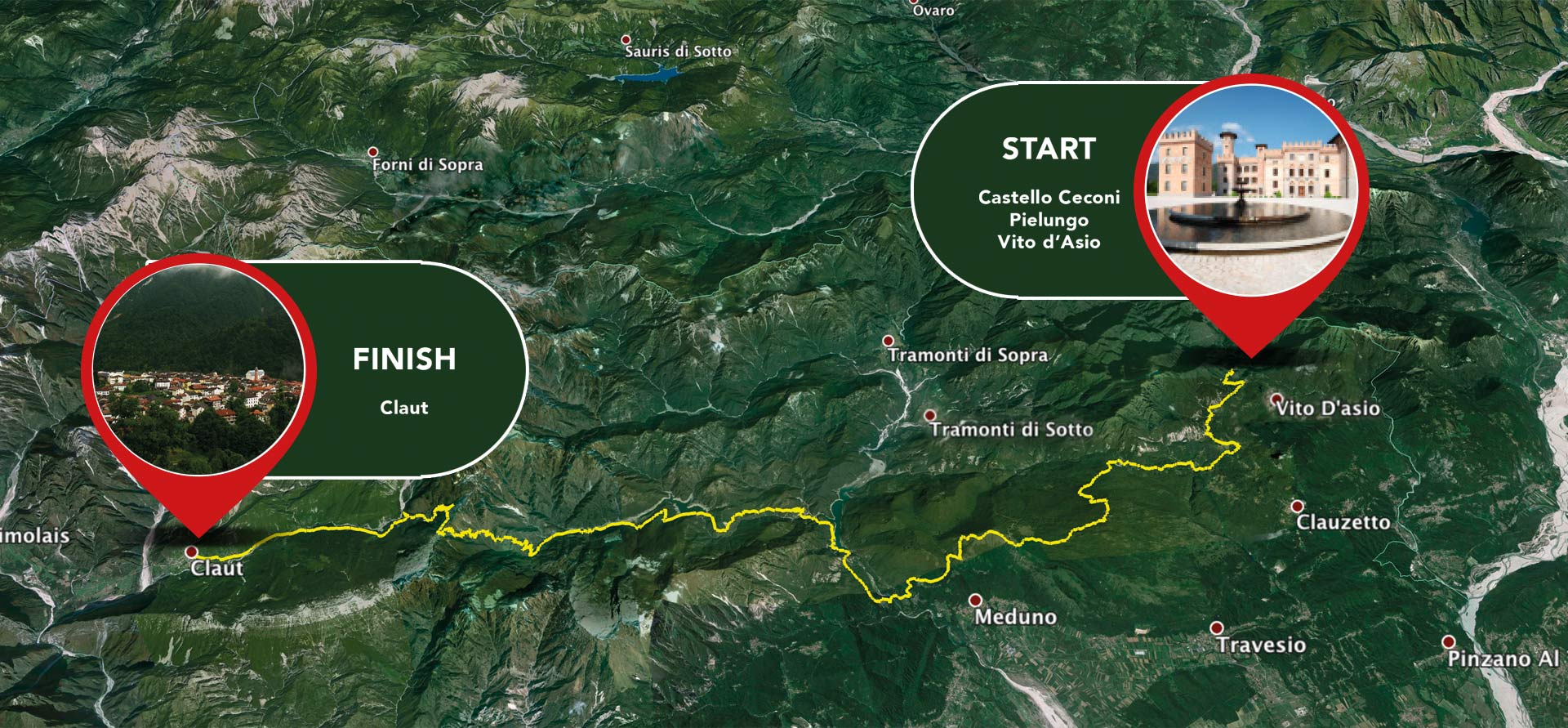 START: Castello Ceconi, Pielungo, Vito d'Asio - FINISH: Claut